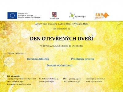 Pozvání na Den otevřených dveří v azylovém domě